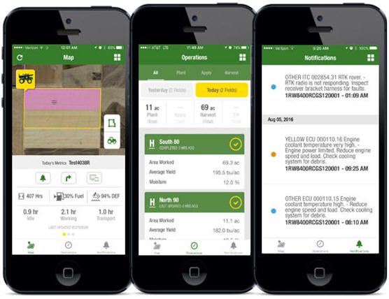 New mobile apps complement John Deere Operations Center and JDLink™ Connect system